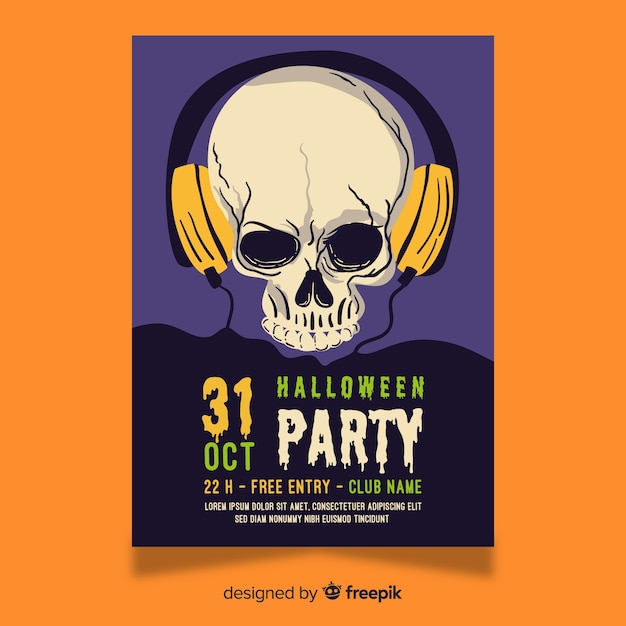 Skull with headphones halloween flyer Free Vector