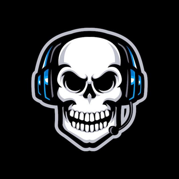 Skull with headset mascot logo isolated Premium Vector