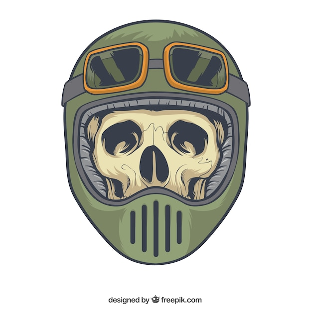 Skull with helmet and glasses Free Vector