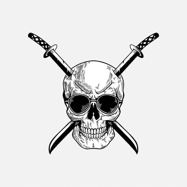 Skull with katana sword illustration Premium Vector