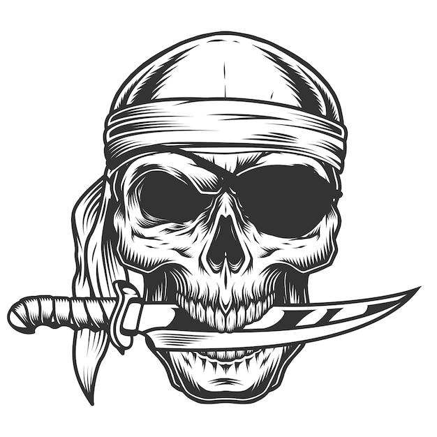 칼으로 두개골 무료 벡터