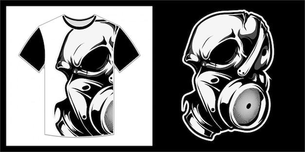Череп с маской, дизайн футболки Premium векторы