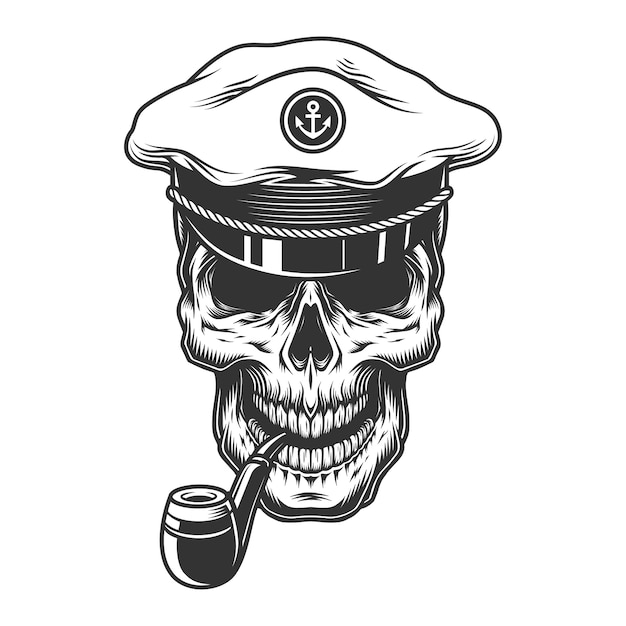 Skull with pipe in the Free Vector