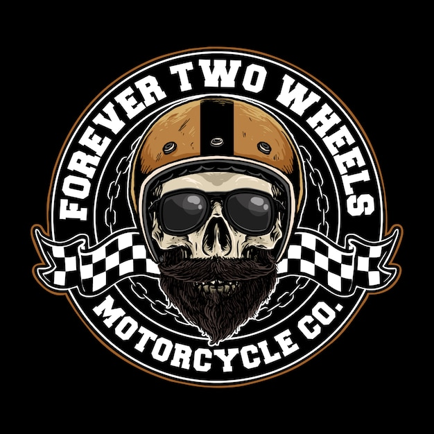 Skull with retro motorcycle helmet badge Premium Vector