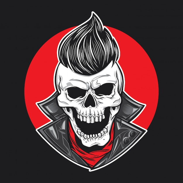 Skull with slick hair front view Premium Vector