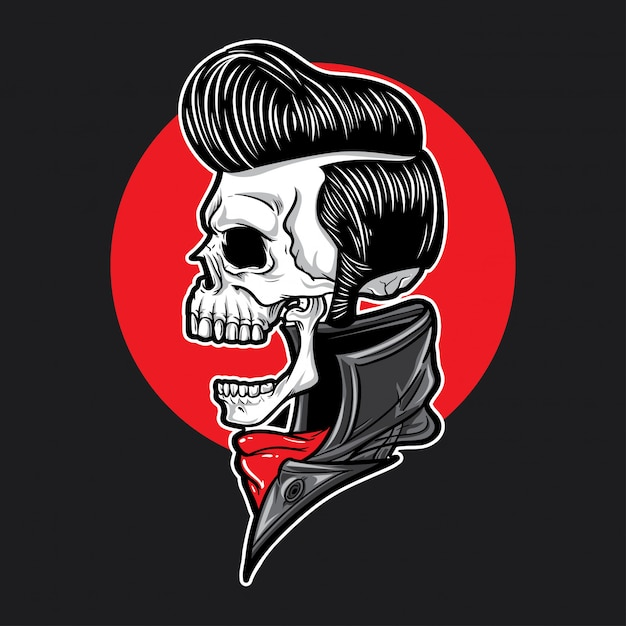Skull with slick hair side view Premium Vector