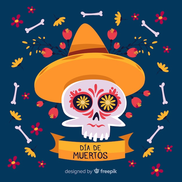 Skull with sombrero hat background Free Vector