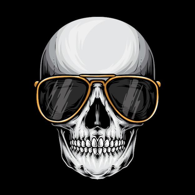 Skull with sunglasses Premium Vector