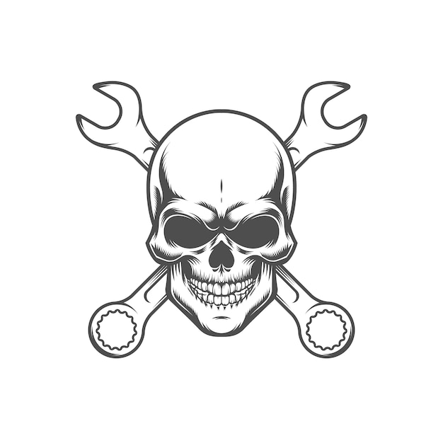 Skull with wrenches. retro logo, emblem, label. isolated on white background. Premium Vector