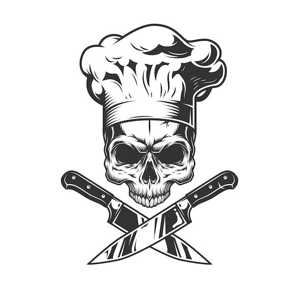 Череп без челюсти в шляпе шеф-повара Бесплатные векторы
