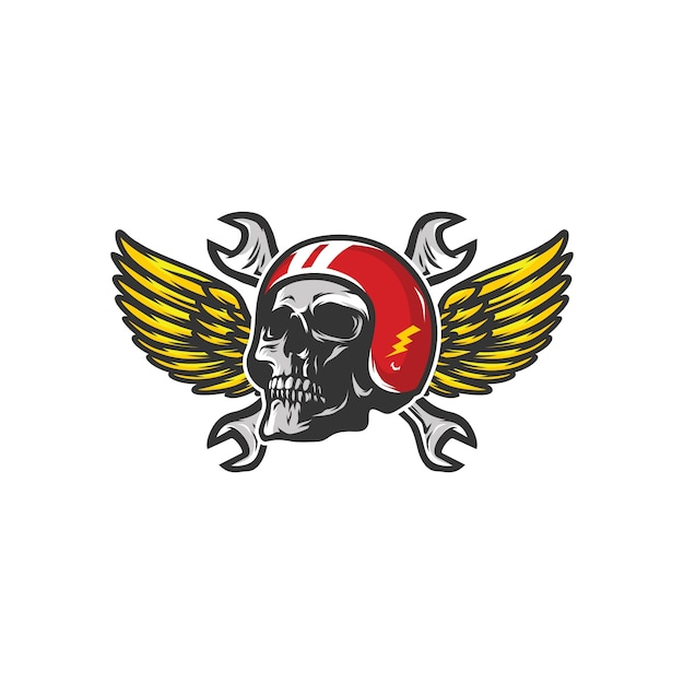 Skull workshop logo mascot vector design illustration Premium Vector