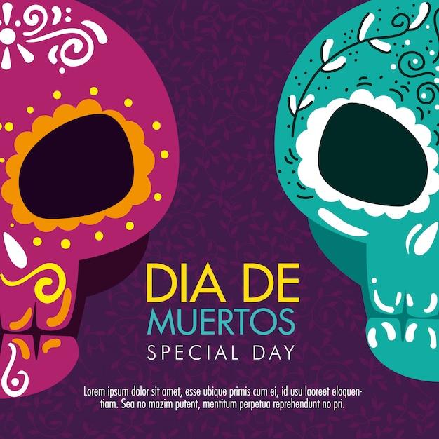 死者の日を祝うための頭蓋骨の装飾 無料ベクター