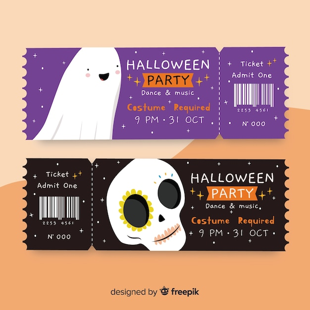 Skulls and ghosts tickets for halloween events Free Vector