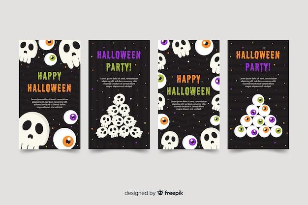 Skulls for halloween instagram stories collection Free Vector