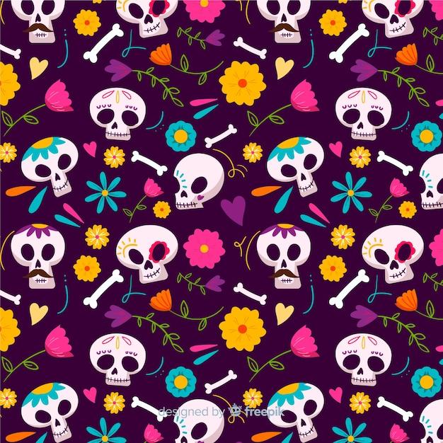 Skulls seamless pattern in hand drawn design Premium Vector