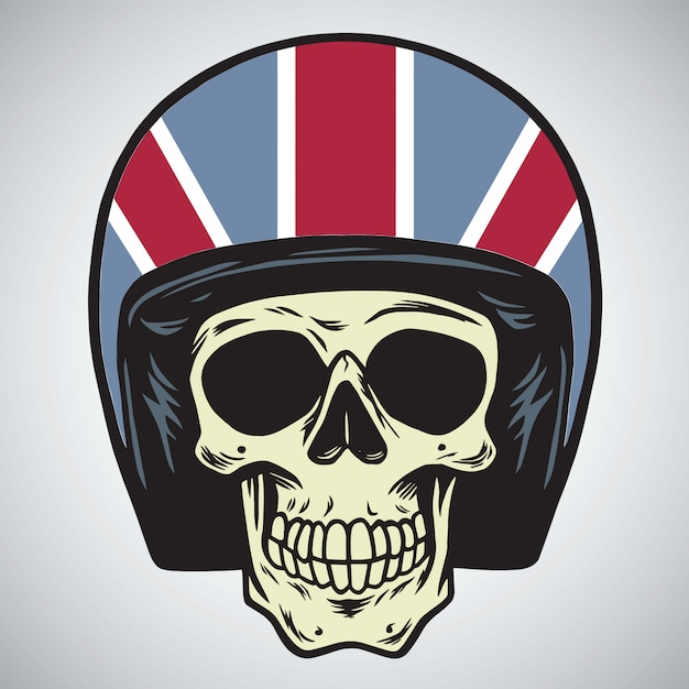 Skulls with england motorcycle helmet vector illustration Premium Vector