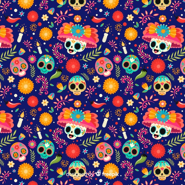 Skulls with floral hats seamless pattern Free Vector