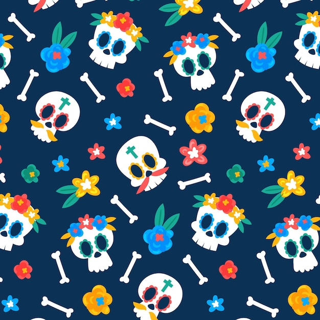 Skulls with flowers day of the dead pattern template Premium Vector