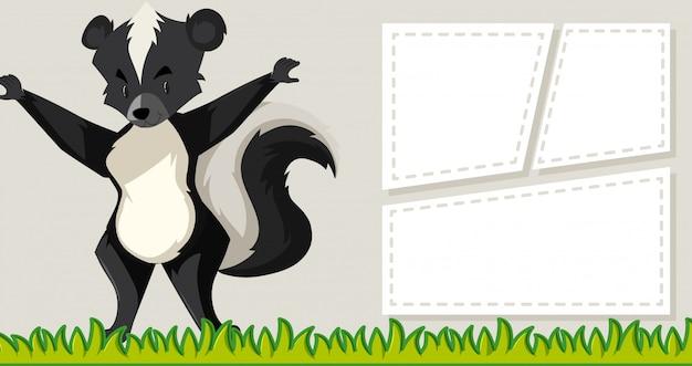 Skunk on blank note frames Free Vector