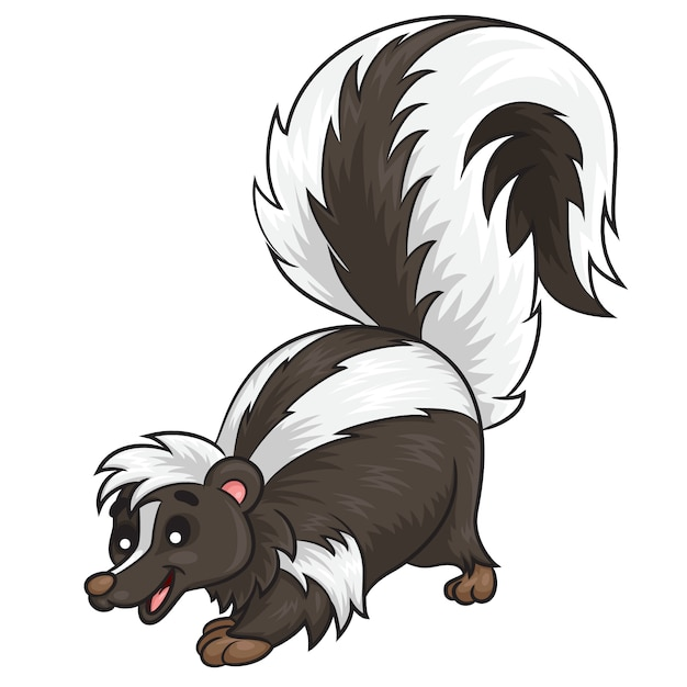Skunk cute cartoon Premium Vector