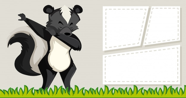 Skunk on note template Free Vector