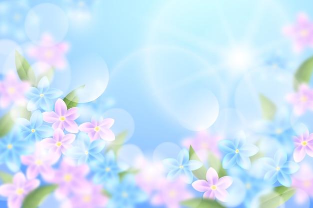 하늘과 분홍색 꽃 현실적인 흐리게 봄 배경 무료 벡터