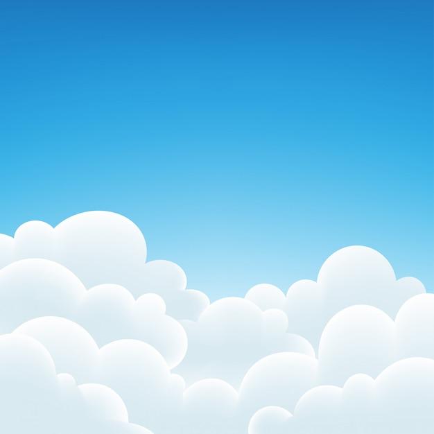 空の背景と白い雲。 Premiumベクター