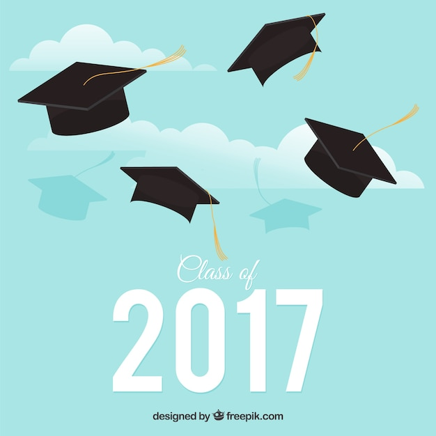 sky background with graduation caps vector free download