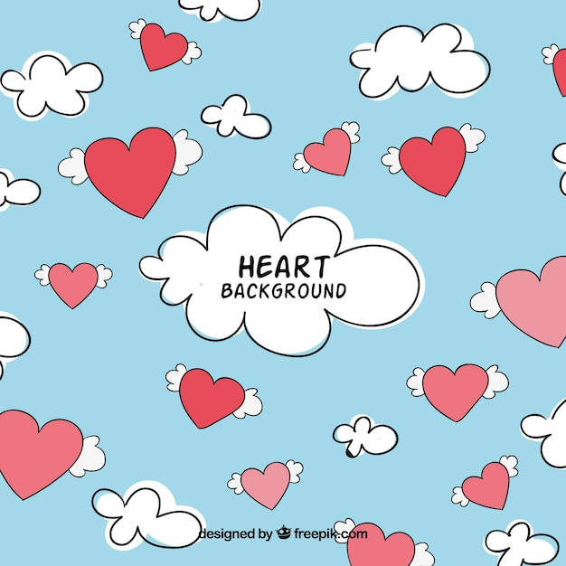 Sky background with hearts and clouds Free Vector