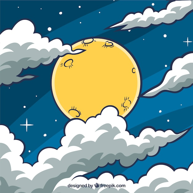 Sky background with moon and hand drawn clouds Free Vector