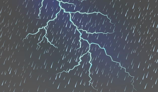 Sky background with rain and thunder Free Vector