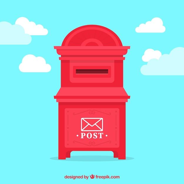 Red post box flat vector Vector