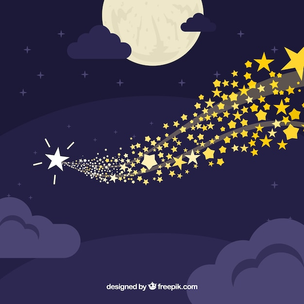 Sky background with stars Free Vector
