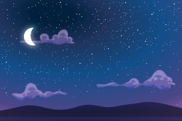 Sky in the night background for online video conferencing Free Vector