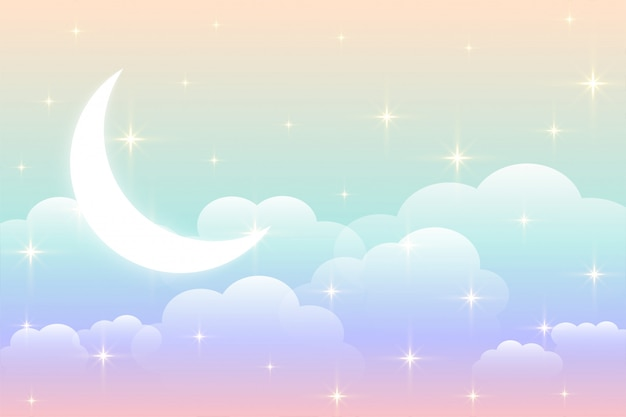 Sky rainbow background with glowing moon design Free Vector