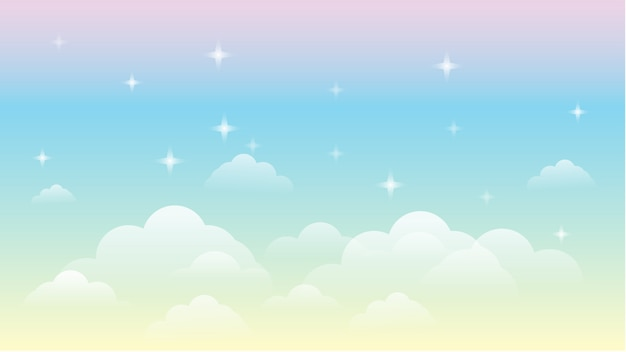 Sky rainbow galaxy beautiful  landscape background Premium Vector
