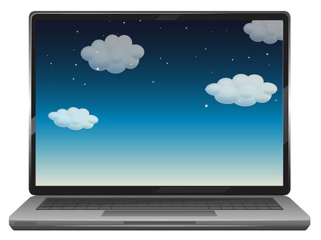 Scena del cielo sul desktop del laptop Vettore gratuito