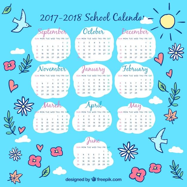 Sky school calendar with floral drawings