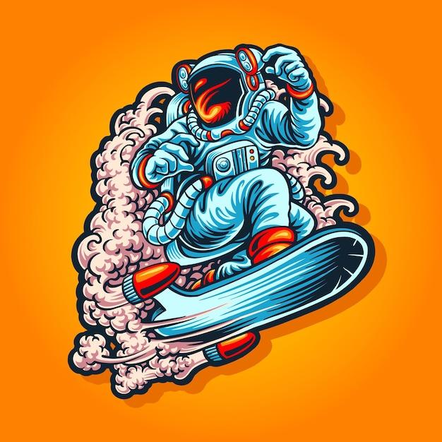 宇宙飛行士のスーツのイラストとスカイサーフィン Premiumベクター