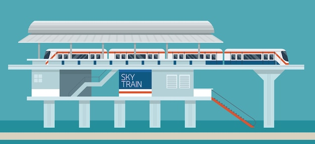 Sky train station flat design illustration background Premium Vector