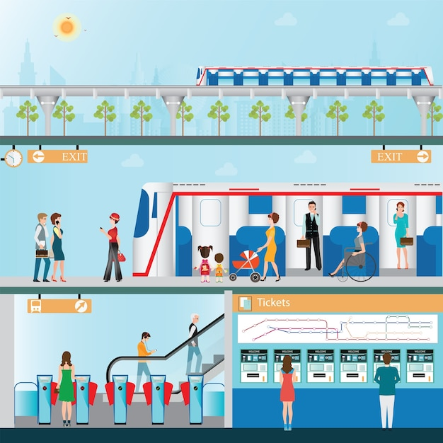 Sky train station with people Premium Vector