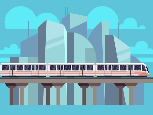 Sky train subway landscape flat concept Premium Vector
