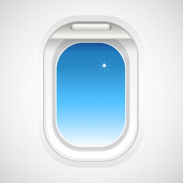 Sky view outside plane window Premium Vector