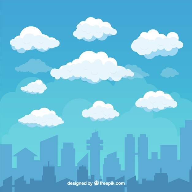 Sky with clouds and city background in flat style Free Vector