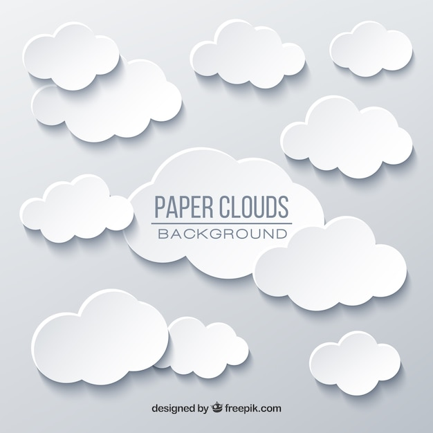 Sky with clouds background in paper texture Free Vector