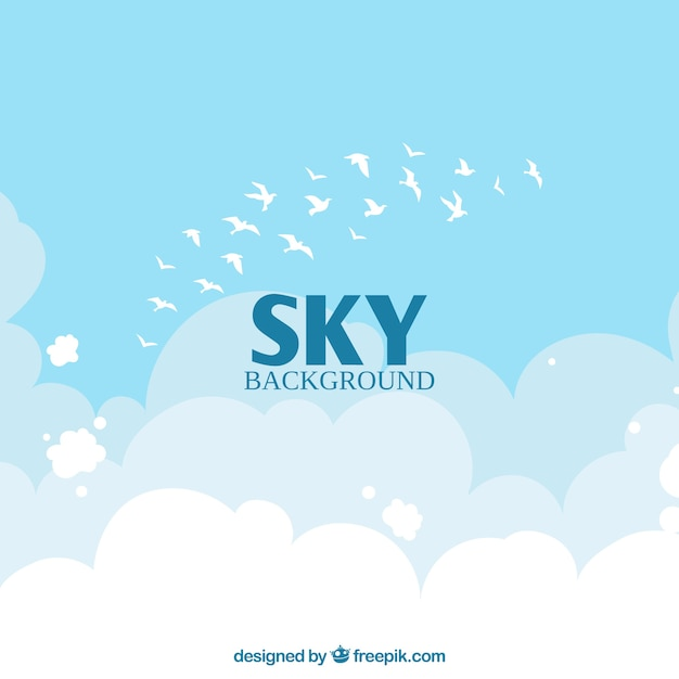 Sky with clouds and birds background in flat style Free Vector