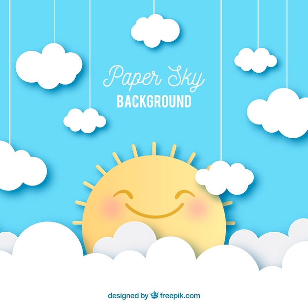 Sky with clouds and cute sun background in paper texture Free Vector