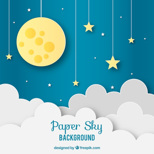 Sky with clouds and moon background in paper texture Free Vector