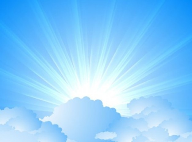 Sky with clouds and sunburst Free Vector