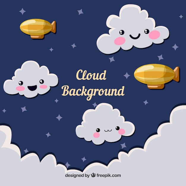 Sky with cute clouds background Free Vector